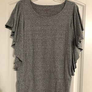 Isabel Maternity Flutter Sleeve Top Grey New